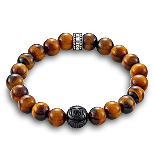 THOMAS SABO Herren-Armband Rebel at Heart 925 Silber Tigerauge braun 21 cm - A1408-806-2-L21 -