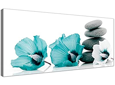 Large Canvas Pictures of Teal Flowers and Grey Pebbles - Turquoise Floral Wall Art - 1072 - Wallfillers®