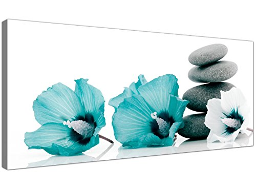 Large Canvas Pictures of Teal Flowers and Grey Pebbles