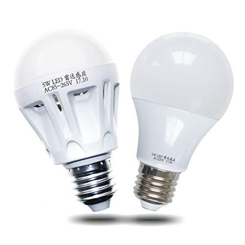 3 Radar (P12cheng Smart Sensitive Glühbirne, 3/5/7/9 W AC 220 V Radar Auto Bewegungsmelder Lampe Dämmerung bis Morgendämmerung Garage Licht Lampe - 7 W, Kunstharz, 3W)