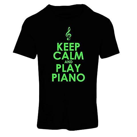 T-shirt femme Play Piano - citations musicales (XX-Large Noir Verte)
