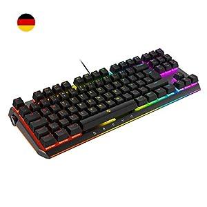DREVO BladeMaster TE Allmächtiger RGB Mechanische Gaming-Tastatur mit programmierbarer Genius-Knob, 88 Taste Deutsche Layout [Linearer Lautloser Gateron Roter Schalter]