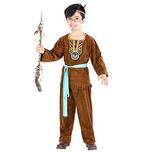 Jungenkostüm Indianer   inkl. Bindegürtel und Haarband mit Feder (10-12 Jahre   no. 300615) (Heiße Halloween Kostüme Für Jungs)