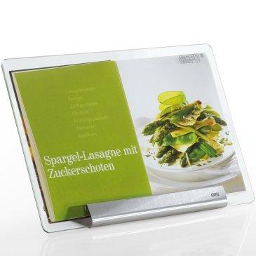 Kochbuchständer aus Edelstahl, 35,5 x 24 cm, mit Sicherheits-Glasscheibe