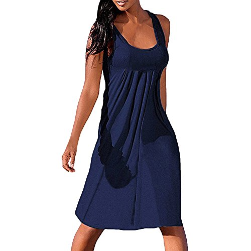QUINTRA Damen Ärmellos Plissiertes Casual Minikleid Sommerkleid Blusekleid