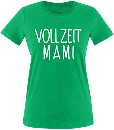 EZYshirt® Vollzeit Mami Damen Rundhals T-Shirt Grün/Weiss