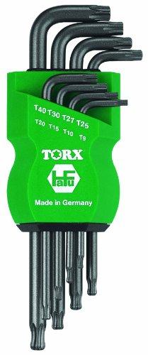 Preisvergleich Produktbild TR TORX® 70594 Schraubendreher Set 8tlg. TX9 - TX40 mit Kugelkopf | Tamper Resistant | Made in Germany | Mit Bohrung | TX9 | TX10 | TX15 | TX20 | TX25 | TX27 | TX30 | TX40 | TX | für Torx Sicherheits-Schrauben