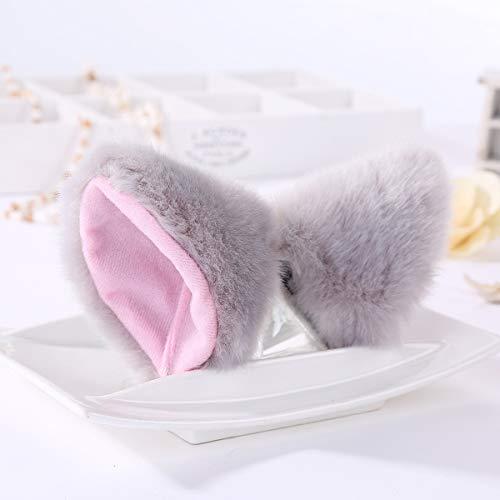 Jinxuny 1 Paar Frauen Mädchen Cosplay Mode Plüsch Katze Ohren Headclips Schöne Haarschmuck Geschenk (Color : Grey)