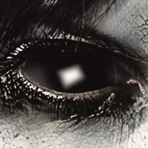 Funlinsen Black Sclera-Markenqualität- 1 PAAR-D-22mm-schwarze Linsen,Cosplay, Larp, Zombie Kontaktlinsen, Crazy Funlinsen, Halloween, Fastnacht,Vampir