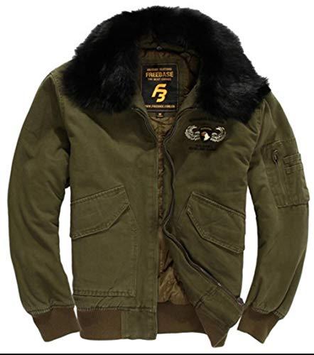 FGYYG Herren Herbst Winter Klassisch Outdoor Militär Multi-Tasche Baumwolle Jacke Klassisch Warm Verdicken Pelzkragen Mantel Parka Windjacke (XX-Large, Army grün)