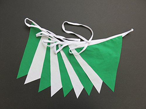 Flyingstart Green and White 3m Single Sided St Patrick's Day Bunting