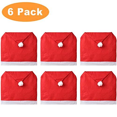 YQing Paquete de 6 Santa Sombrero Comedor Cubiertas de la Silla - decoración de Cena de Navidad Navidad Fiesta