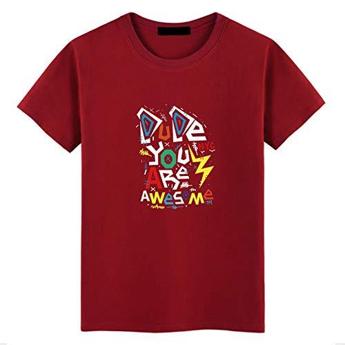 Herren Sommer Kurzarm T-Shirt Baumwolle Rundhals Print T-Shirt Loose Wine Red M -
