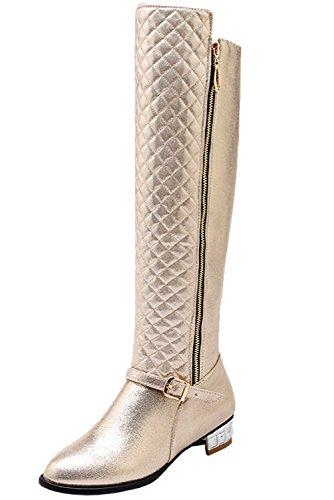 Knie Reitstiefel (Reitstiefel Damen Reißverschluss Bequem Herbst Winter Warm Knie Hohe Stiefel Von Bigtree Gold 40 EU)