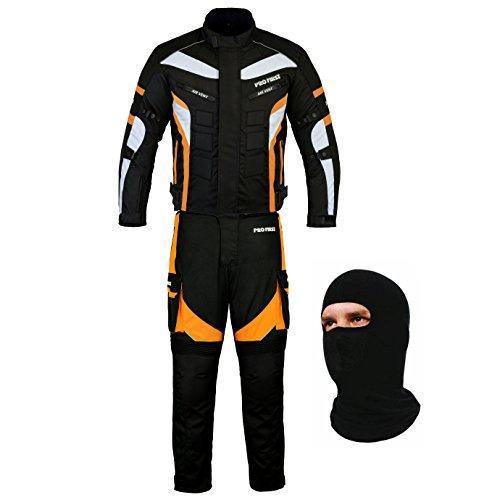 Bikerwear All Weather Motorradanzug Gepanzert 2 Stück Anzug Motorrad Motorrad Wasserdichte Anzugjacke + Hosen CE Armor