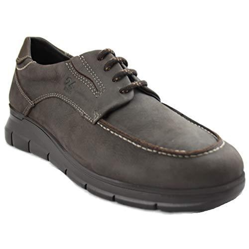 24 Horas 10730 - Zapatos de Hombre Marrones de Piel con Cordones y Especialmente Cómodas - 44, Marró...