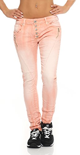 SKUTARI Damen - Jeans Boyfriend Stretch Denim Zip-Taschen , Rosa , Gr. L (Lee Khaki Hosen)