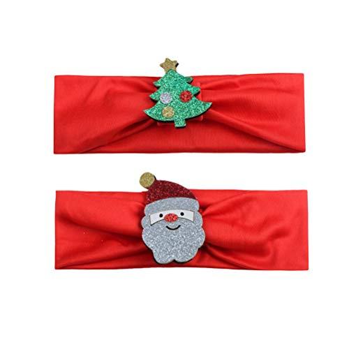 PRETYZOOM 2 stücke Baby Weihnachten Santa Stirnband mädchen Weihnachten Kopf Wickeln weiche elastische Headwear kostüm (Kleinkind Weihnachtsbaum Kostüme)