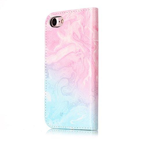 Pheant® Apple iPhone 7 (4.7 pouces) Coque Étui à Rabat Pochette en Cuir PU Cover Gel Housse de Protection avec Fonction de Support et Fermeture Magnétique Motif de Marbre Rose Couleur-09