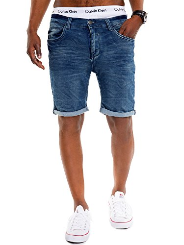 Urban Surface Herren Jeans Bermuda im 5-Pocket Stil JoggJeans Jeans Shorts Washed Denim Used Look Dark Blue Denim 33