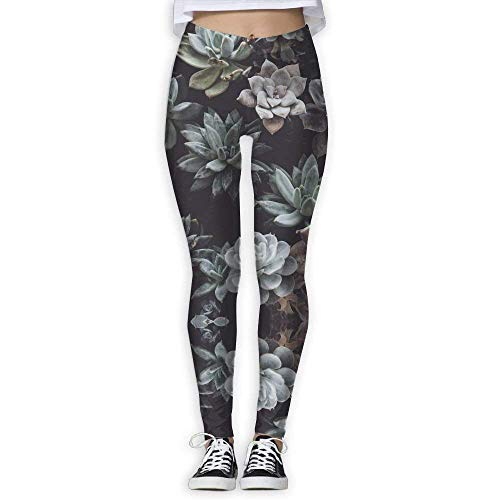 Deglogse Pantaloni da Yoga, Leggings da Allenamento,Succulents Potted Womens Printed Yoga Leggings Workout Slimming Pants Ankle Length Elastic