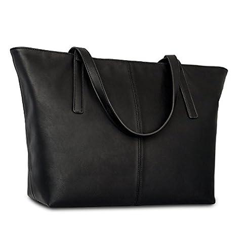 Expatrié Vegan Leather Women's Handbag Shopper Tote Black - High Quality PU Leather Handbags For Women - Large Elegant Ladies Shoulder Bag With Functional Compartments & Zipper Closure