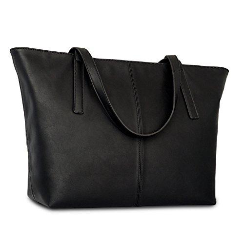 Borsa Expatrié pelle sintetica da donna borsetta shopper grande nera �?Similpelle di alta qualità borsetta da donna �?Borsa a tracolla larga elegante per ragazze scompartimenti funzionali e cerniera Nero
