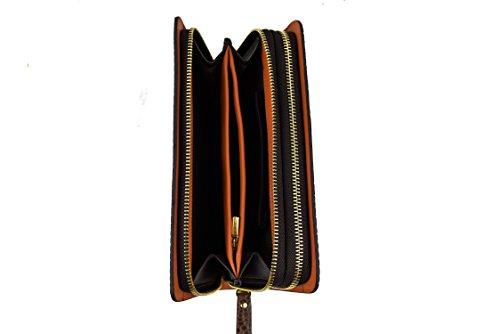 Zerimar Cartera mano Hombre Unisex Cartera Grande Trabilla de Seguridad Cartera de Piel con Múltiples Compartimentos Color marron Medidas: 22x13x4