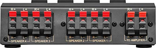 Wentronic AVS 12-4 4-way speaker switch box - Selector de altavoces, negro