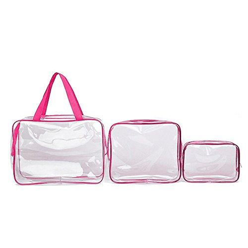 BIGBOBA transparente Sac étanche Transparent Trousse de toilette PVC transparente double zip Sac Cosmétique Set 3, PVC, Rosa, 1