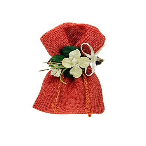 Kit bomboniere fai da te 20 pz sacchettino in cotone con decorazione fiori inclusa regalo bomboniere portaconfetti battesimo matrimonio anniversario complenanni festa gioielli