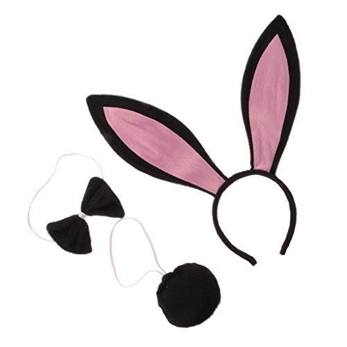 Kostüm Und Schwanz Bunny Ohren (Gazechimp Karneval Halloween Kostüm Set Häschen Bunny Ohren Schwanz Fliege Set -)