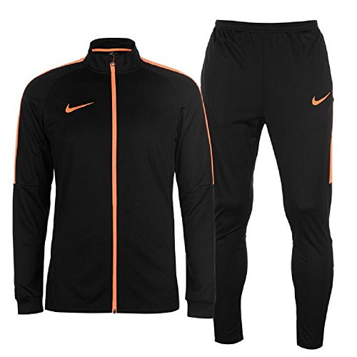 Mens Sports Academy Warm Up 2 Pieces Tracksuit Jacket Bottoms (Medium, Black/Orange)