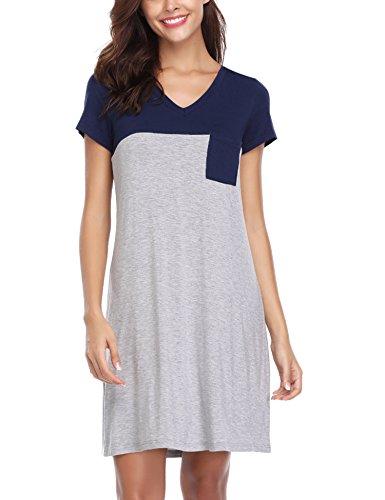 Haijiate camicia da notte donna cotone,pigiama donna estivo,vestito gonna casual scollo a v, manica corta negligee estivo