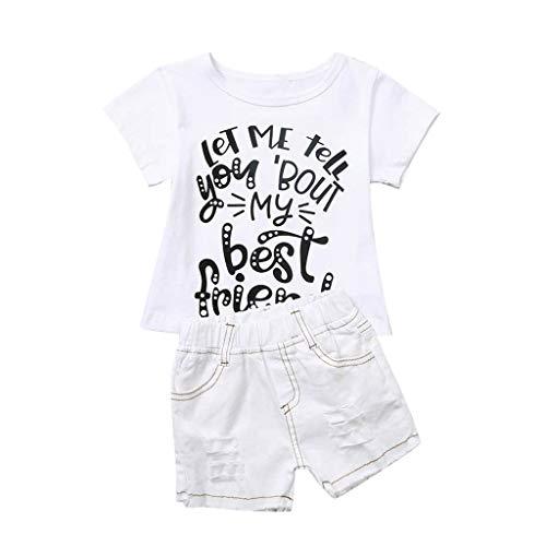 Alwayswin Baby Jungen Mädchen Brief T-Shirt + Jeans Shorts Bruder Schwester Passendes Outfit Set Sommer Kurzarm T-Shirt Jeansshorts Mode Cool Kinderbekleidung Einfarbig Wild Kleidung