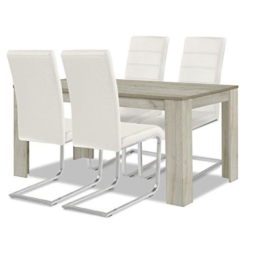 agionda ® Esstisch + Stuhlset : 1 x Esstisch Toledo Eiche Sandeiche 140 x 90 + 4 Freischwinger weiß