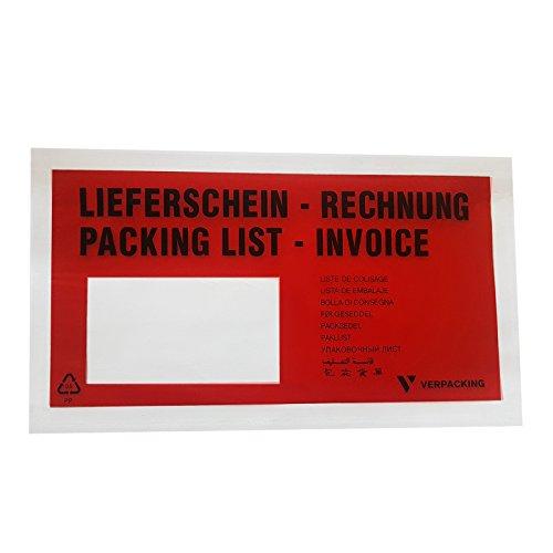 1000 St. selbstklebende Dokumententaschen 22,5 x 11 cm DIN Lang Verpacking Lieferscheintaschen (Rechnungen Tasche)