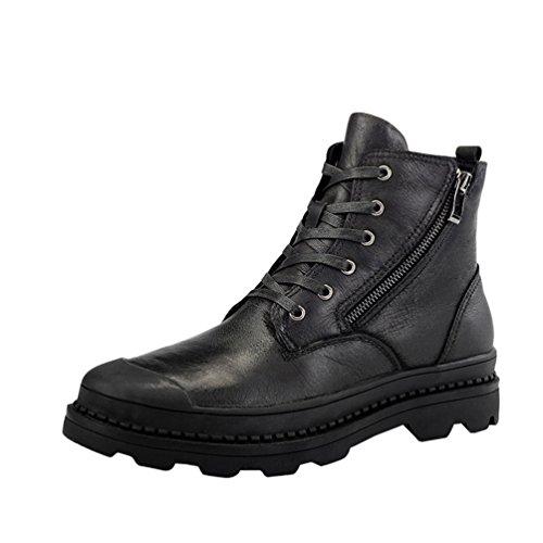 Jitong Hombre Botines de Martin Zapatos con Cordones Botas de Combate con Cremallera Lateral Negro (Forro de Piel Sintética) Asia 44 (27cm)