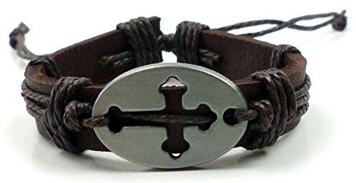 Gebet Dame (Armband Herren Damen Arnbaender braun Jesus Christus Gebets Armband Ichtyhs Kreuz Cross Leather bracelet 4815)