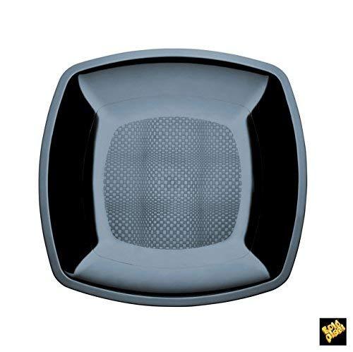 Assiettes Plate Square Plastique PS cfz 25pz 230 mm noir