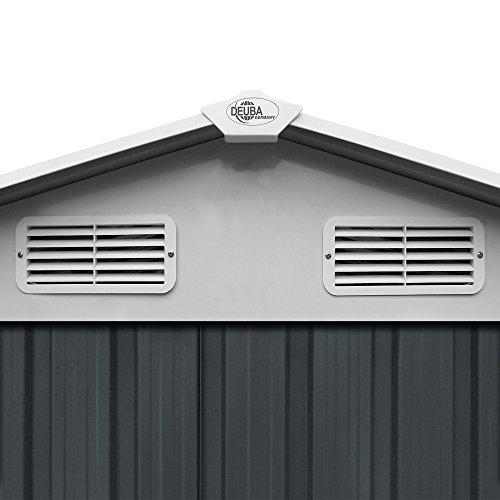XL Gerätehaus Metall verzinkt 8,38m³ inkl. Schiebetüren und Fundament Geräteschuppen Anthrazit Gerätehaus Metallgerätehaus Farbauswahl -