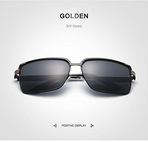 Yiph-Sunglass Sonnenbrillen Mode Männer Polarisierte Sonnenbrille Retro schwarz Gold Sonnenbrille Herren Sonnenbrille gläser oculos de sol Masculino UV400 (Color : Golden)