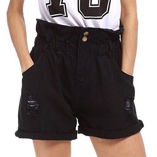 Dexinx pantaloncini di jeans elasticizzati a vita alta da donna pantaloni casual strappati pantaloni caldi strappati estivi nero s