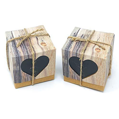 Wedding touches - scatola per bomboniera/confetti stile rustico shabby chic vintage con cuori beige