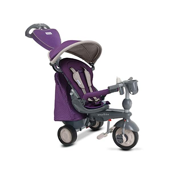 smarTrike 8400500 Baby Tricycle Smartrike Adjustable/ removable, telescopic touch steering parent handle, reclining seat 5-point seat harness and safety bar Quality storage bag coordinated with detachable and adjustable canopy, shoulder pads and seat pad 1