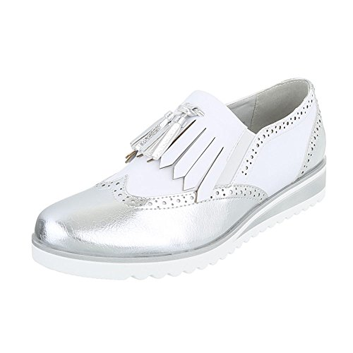 Klassische Halbschuhe Damen-Schuhe Oxford Moderne Ital-Design Halbschuhe Silber Weiß, Gr 41, 6592-P-