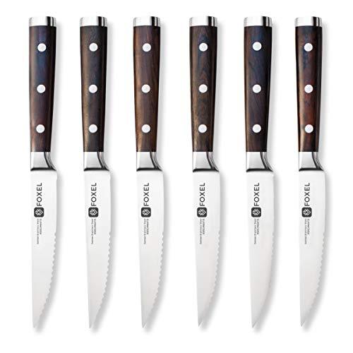 FOXEL Clásico juego de 6 cuchillos para carne con mango de madera de