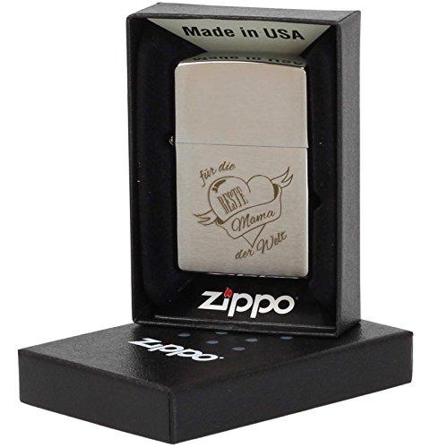 Druckspezialist Beste Mama der Welt Original Zippo Feuerzeug mit Lasergravur Gravur Brushed Chrome Benzinfeuerzeug