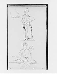 John Singer Sargent – Javanese Dancer with Fan Foot Man (from Sketchbook of Javanese Dancers) Impression d'art Print (45,72 x 60,96 cm)