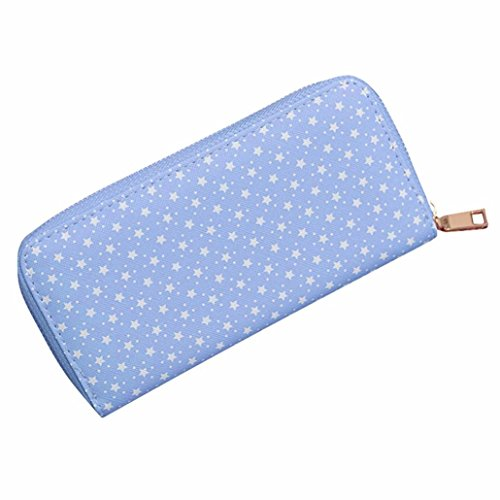 Reasoncool 2017 Moda Donne pattern Stelle borsa cerniera moneta Portafoglio Card Holders borsa (Nero) Blu